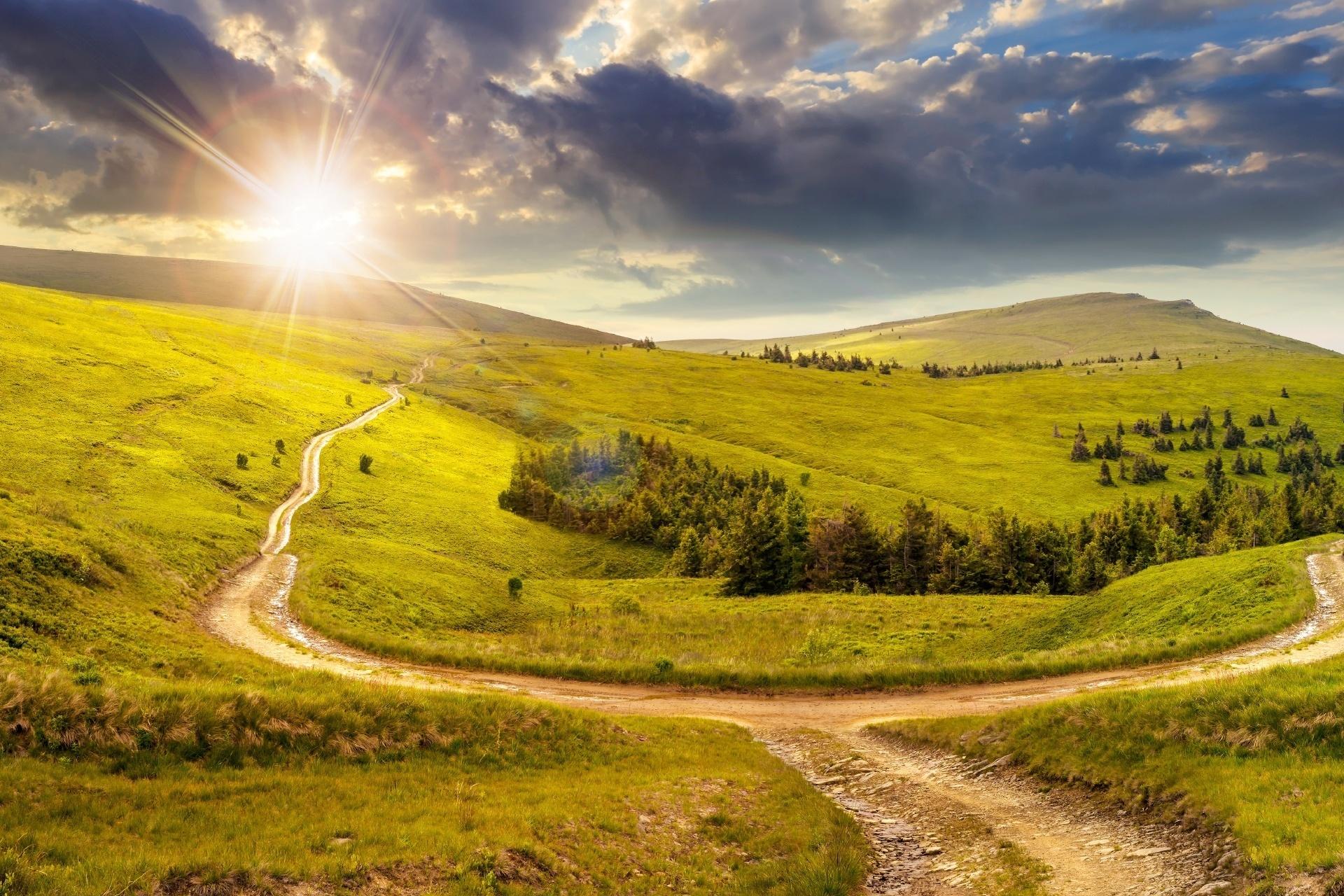 夕陽のあたる秋の丘の風景