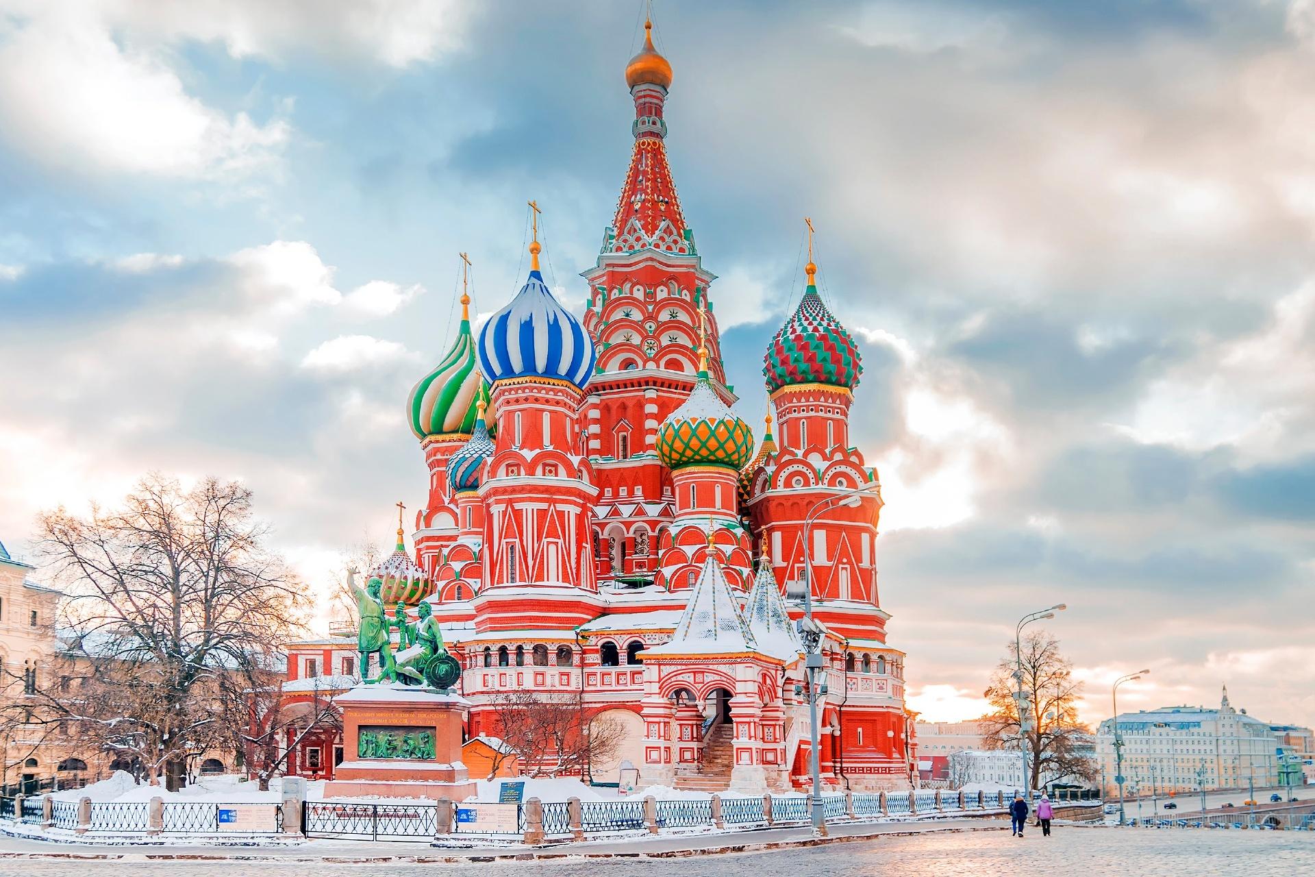 聖ワシリイ大聖堂 冬のモスクワの風景 ロシアの風景