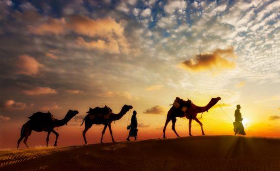 夕暮れのサハラ砂漠