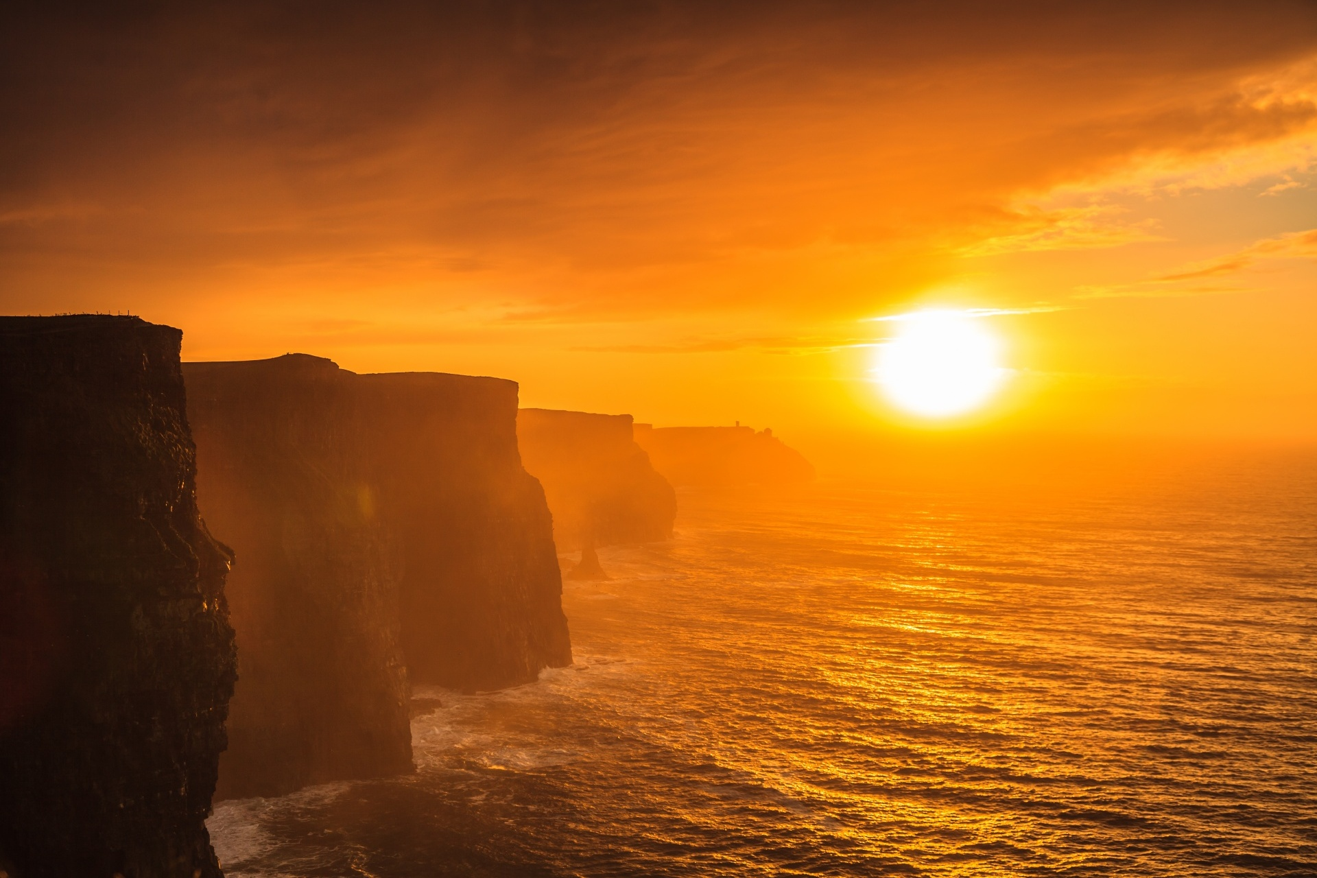 モハーの断崖と夕日 アイルランドの風景