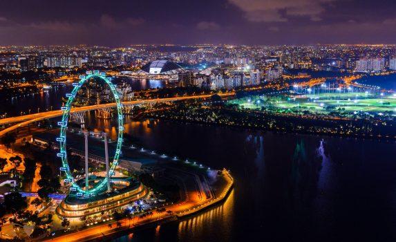 シンガポール ダウンタウンの夜景 シンガポールの風景