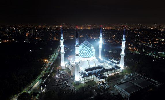夜のブルー・モスク マレーシアの風景