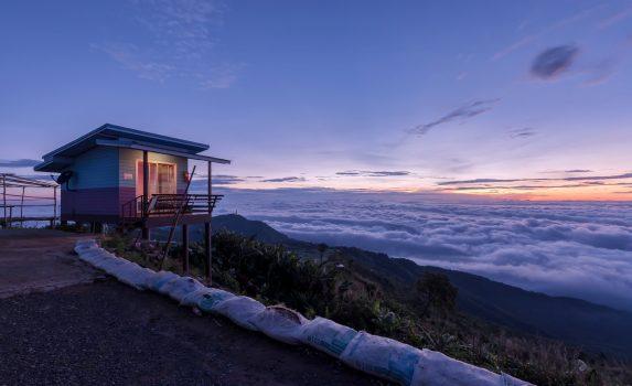 朝の雲海の風景 タイの風景