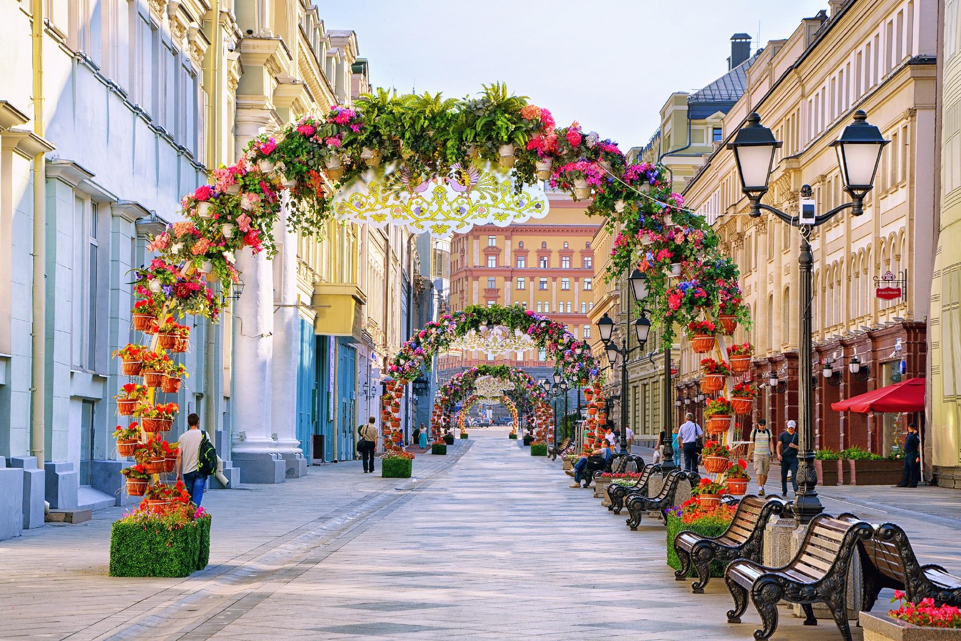 モスクワの風景 ニコルスカヤ通り ロシアの風景