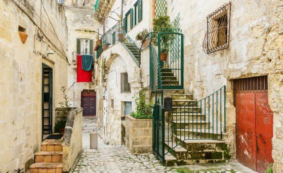 マテーラ旧市街 イタリアの古い伝統的な家と建物 イタリアの風景