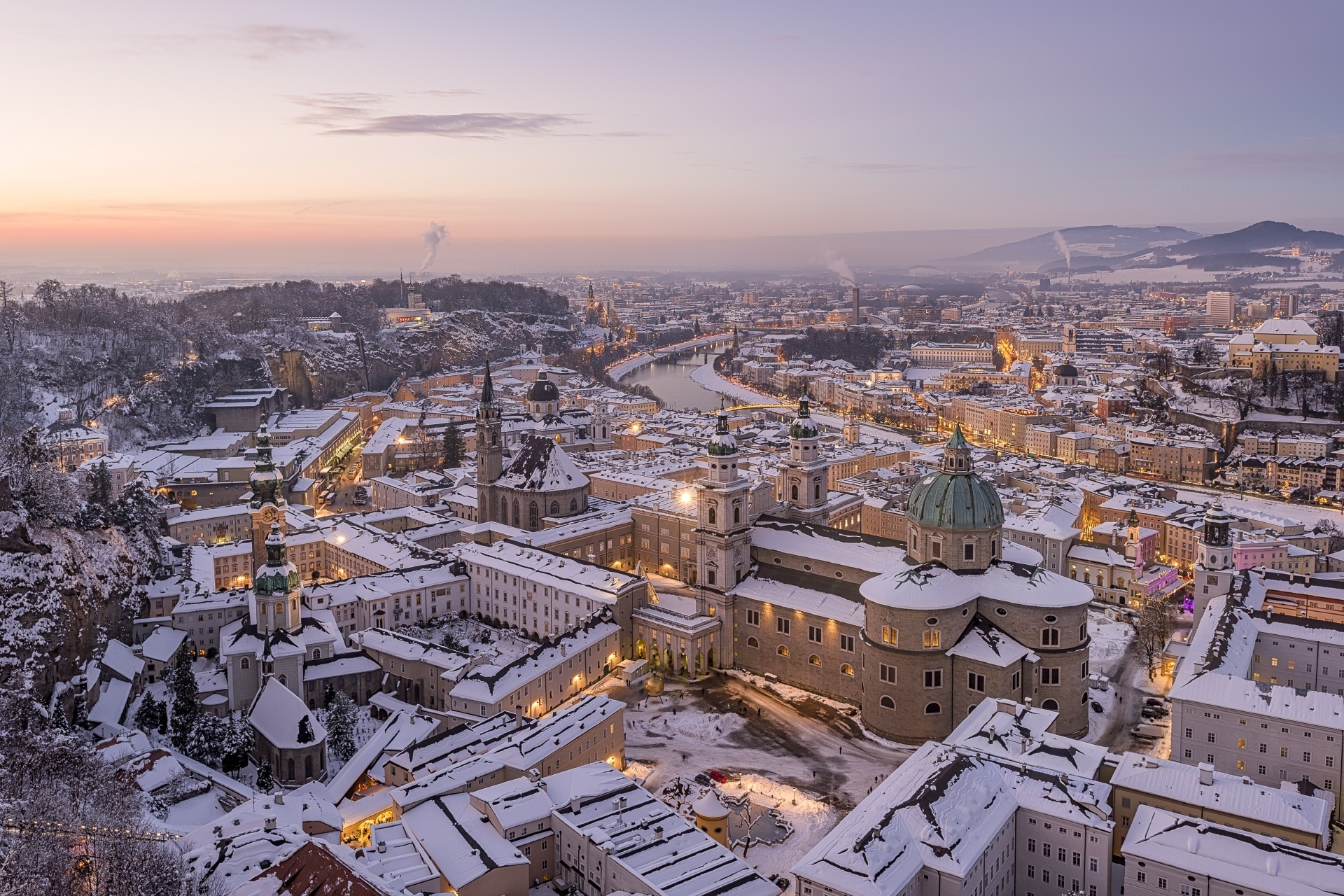 冬のザルツブルクの風景 オーストリアの風景