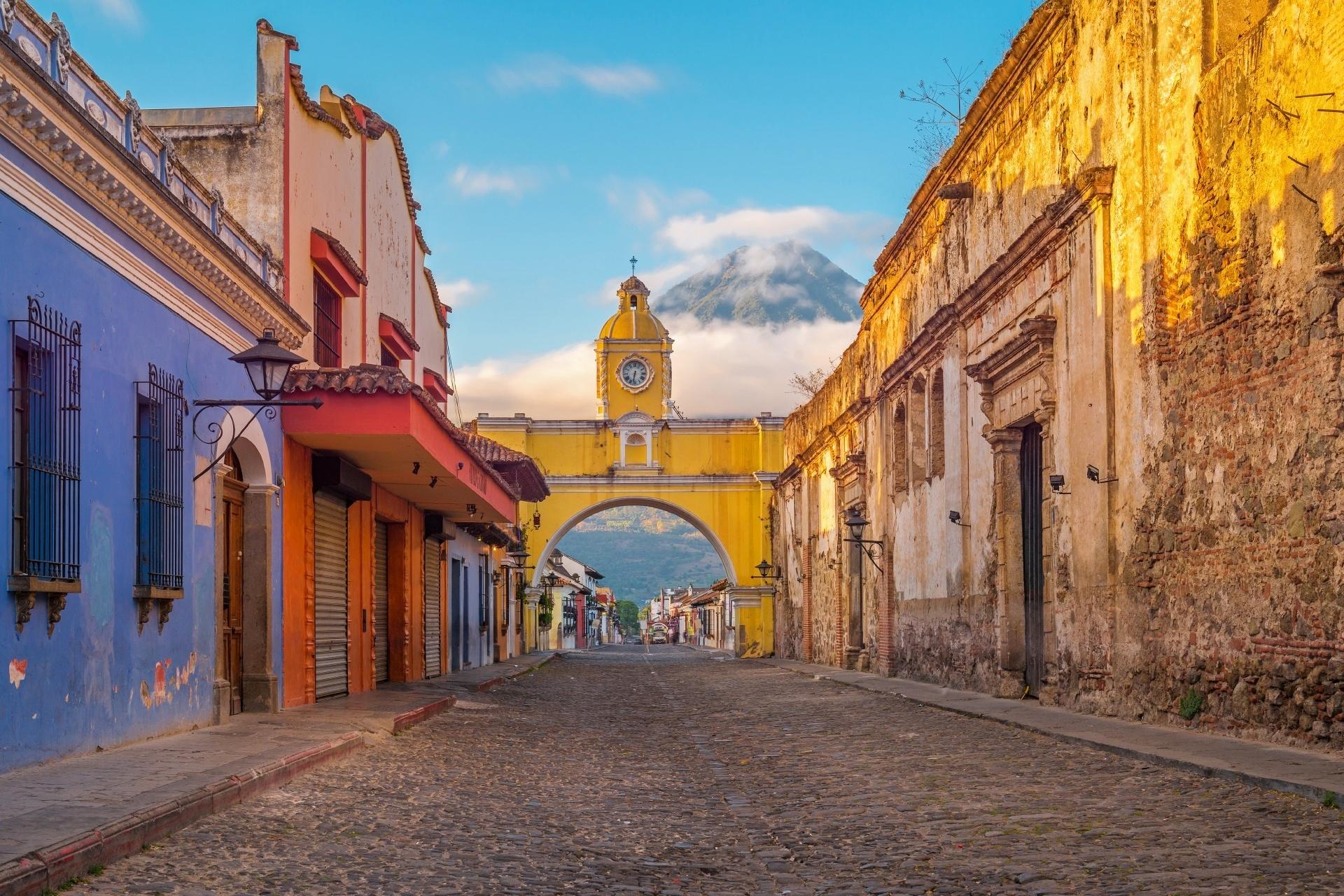 朝のアンティグア・グアテマラの光景 グアテマラの風景
