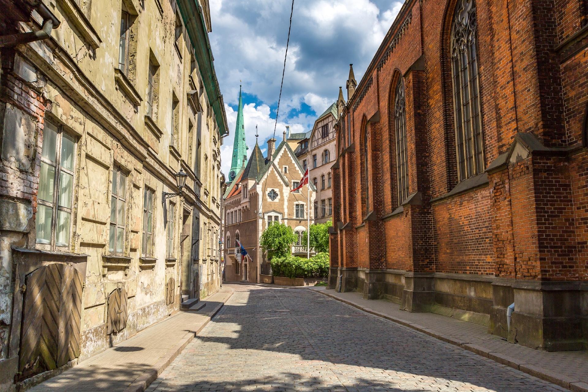 ラトビア リガの旧市街 美しい夏の日 ラトビアの風景