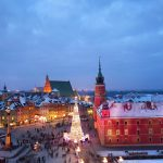 冬のワルシャワの夕暮れ