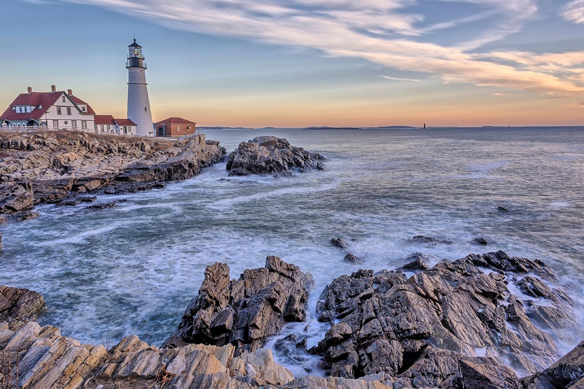 早朝のポートランド ヘッドライト灯台 アメリカの風景
