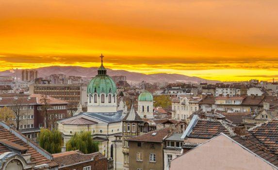 夕暮れのソフィアの町並み ブルガリアの風景