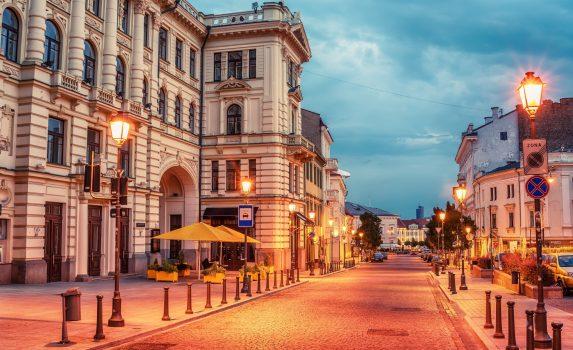 リトアニアの首都 ヴィリニュス 早朝の旧市街の風景 リトアニアの風景