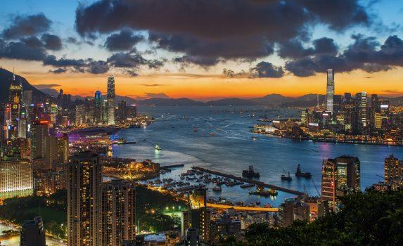 夕暮れの香港の風景