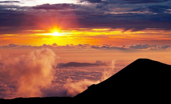 マウナ・ケア山の夕焼け ハワイの風景 アメリカの風景