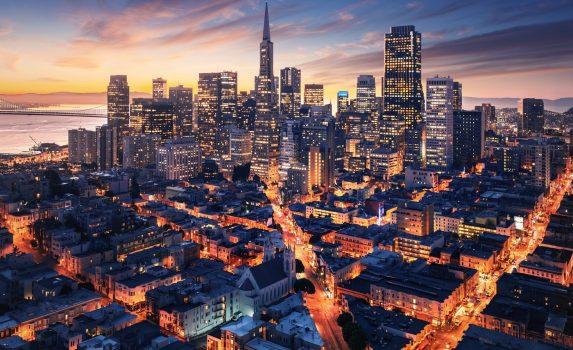 朝のサンフランシスコの風景 アメリカの風景