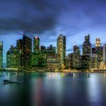 シンガポールの風景 マリーナベイの高層ビル