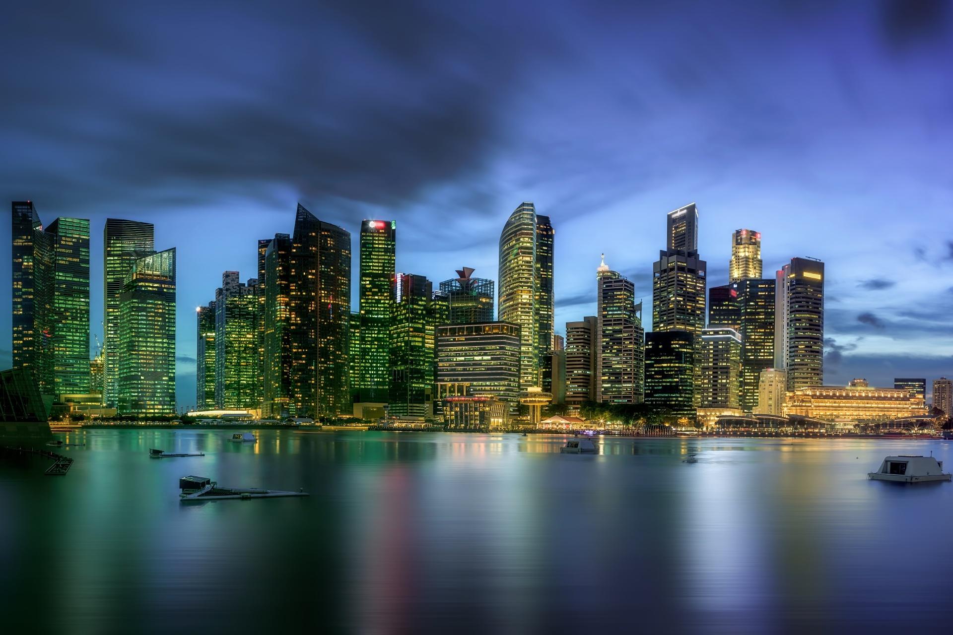シンガポールの風景 マリーナベイの高層ビル群