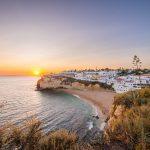 ポルトガル カルヴォエイロ アルガルヴェ沿岸の日没風景