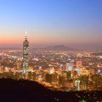 台北101と台北市の夕焼けの風景 台湾の風景