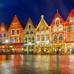 クリスマスのブリュージュ旧市街 ベルギーの風景