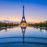 トロカデロ庭園から見る朝のエッフェル塔 フランスの風景