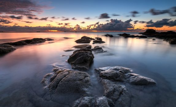 日没の海の風景 マレーシアの風景