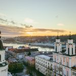 カウナス旧市街の冬の朝の風景 リトアニアの風景