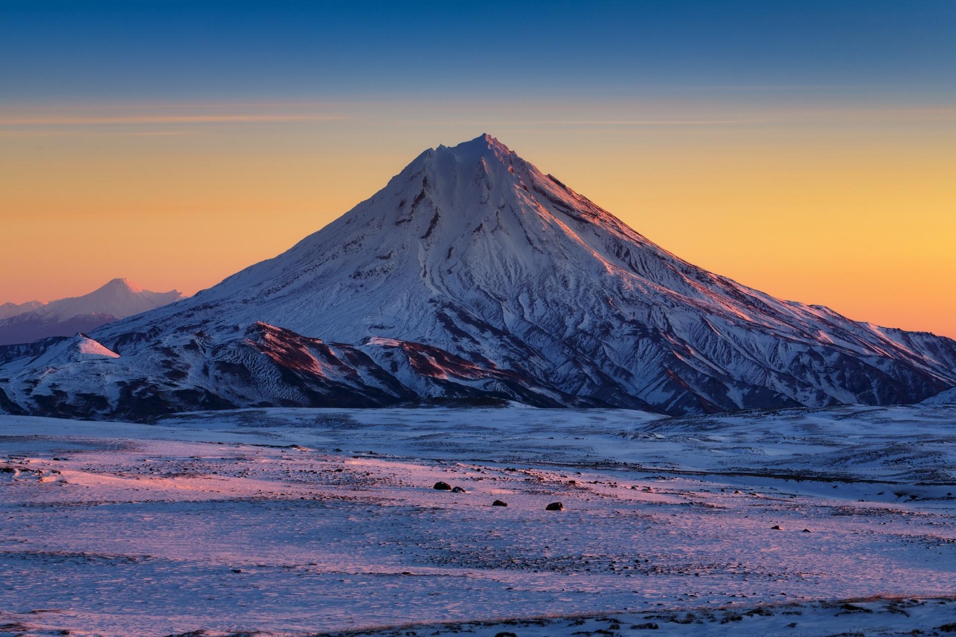 カムチャッカの冬の朝の風景 ロシアの風景