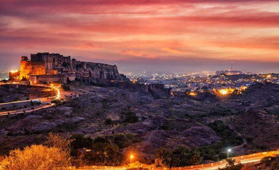 夕暮れのメヘランガール城塞 インドの風景