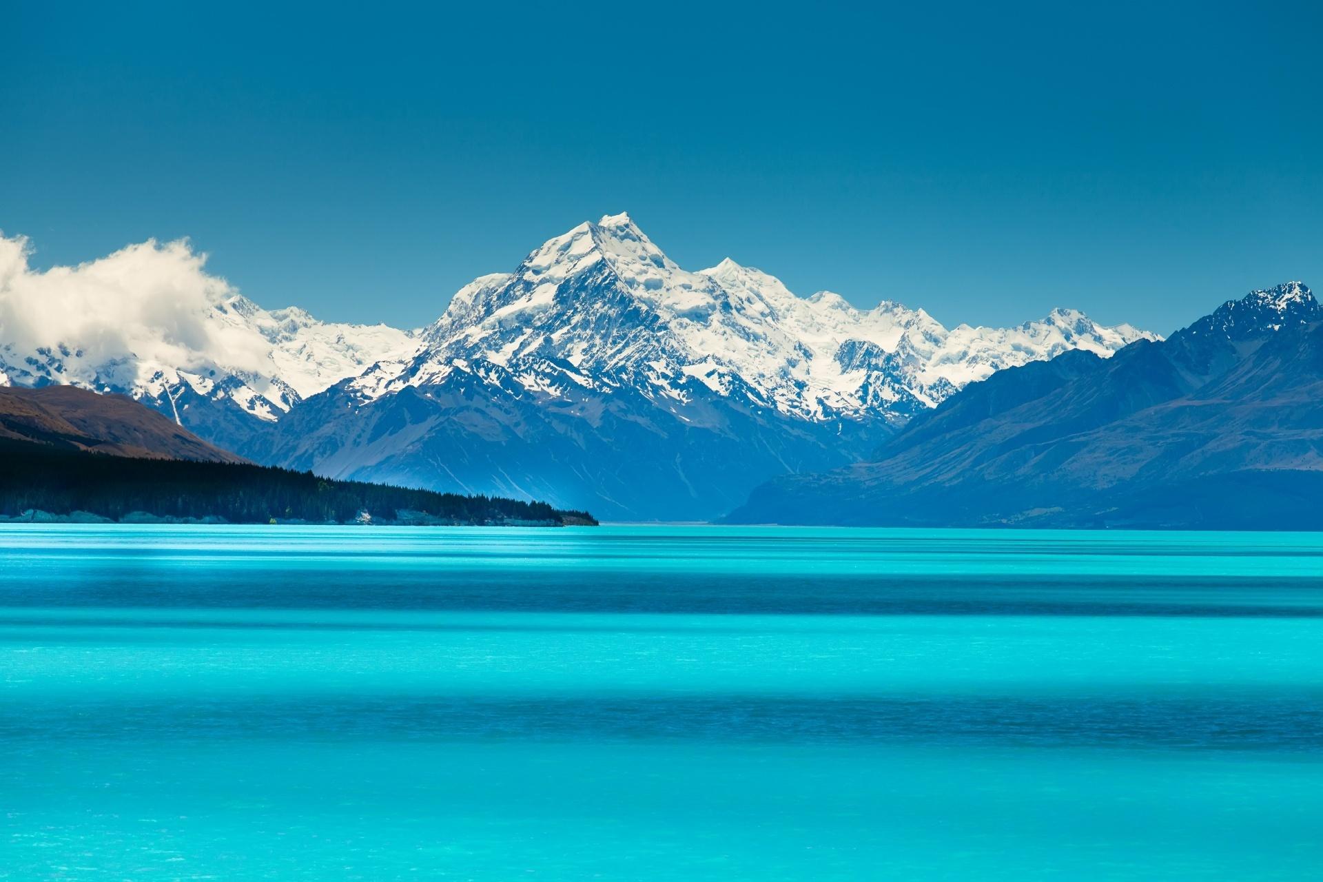 グレンタナー・パーク・センターから眺めるプカキ湖とマウント・クック ニュージーランドの風景