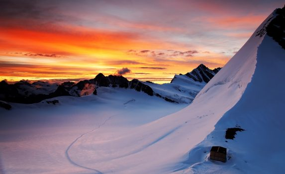 朝焼けの風景 スイスの風景
