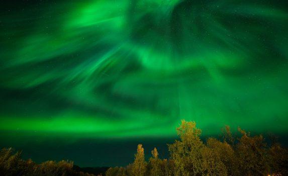 オーロラの風景 スウェーデンの風景
