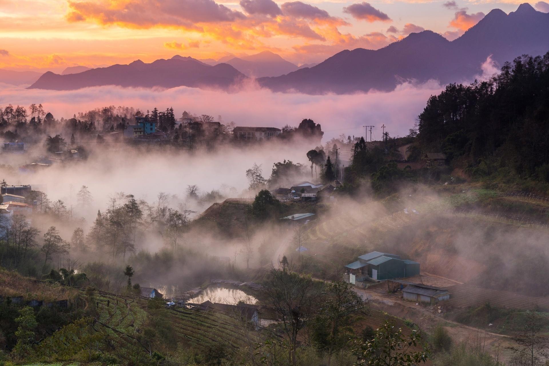 サパの朝の風景 ベトナムの風景