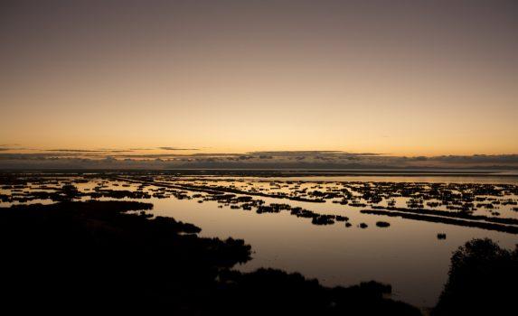 チチカカ湖の日の出の風景 ペルーの風景