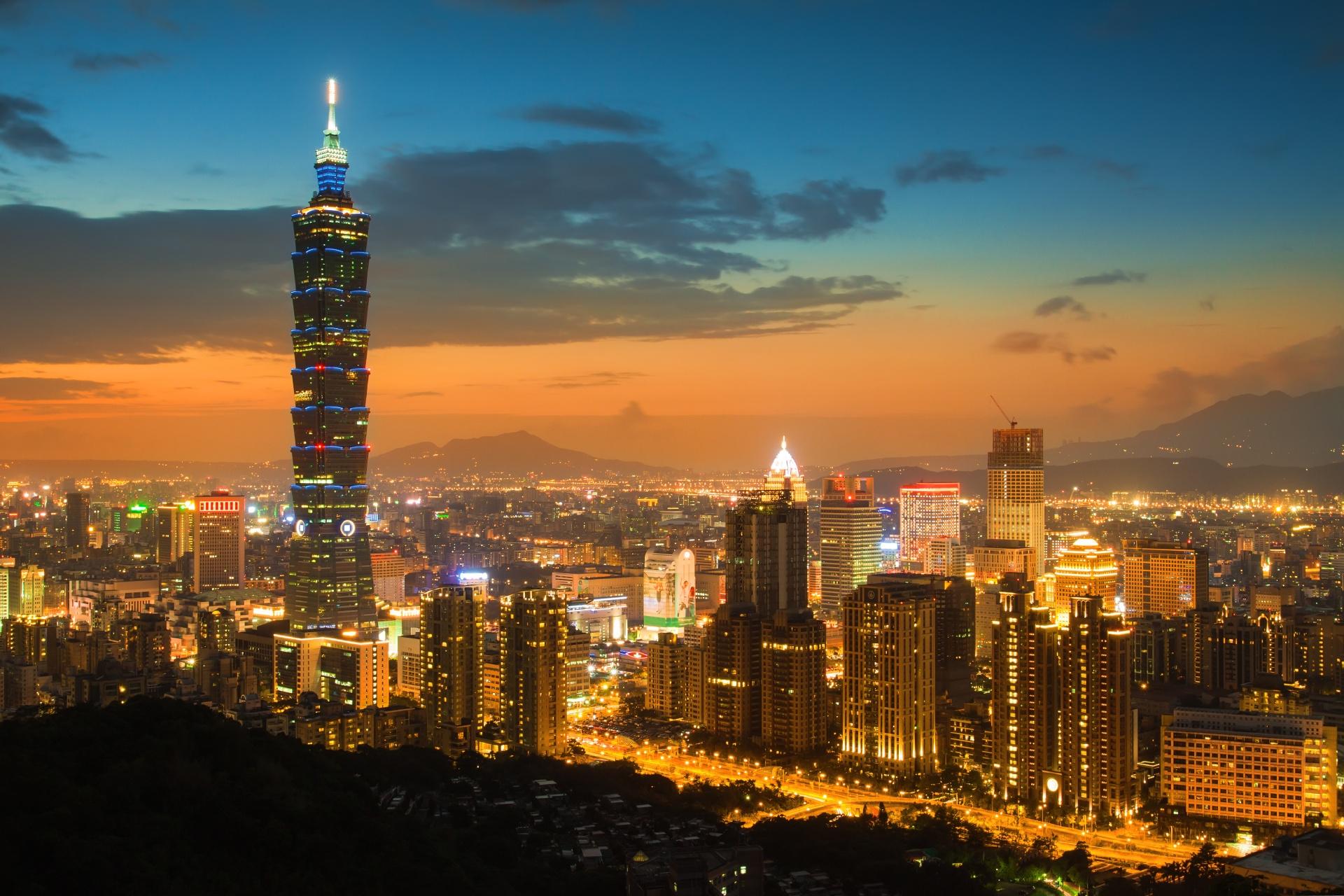 台北101と夕暮れ時の台北市の風景 台湾の風景