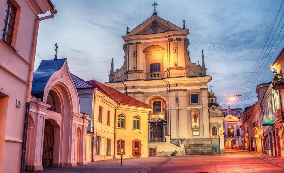 朝のヴィリニュスの旧市街の風景 リトアニアの風景