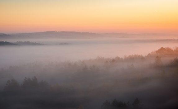 朝霧のクラクフ・チェンストホーヴァ高地 ポーランドの風景