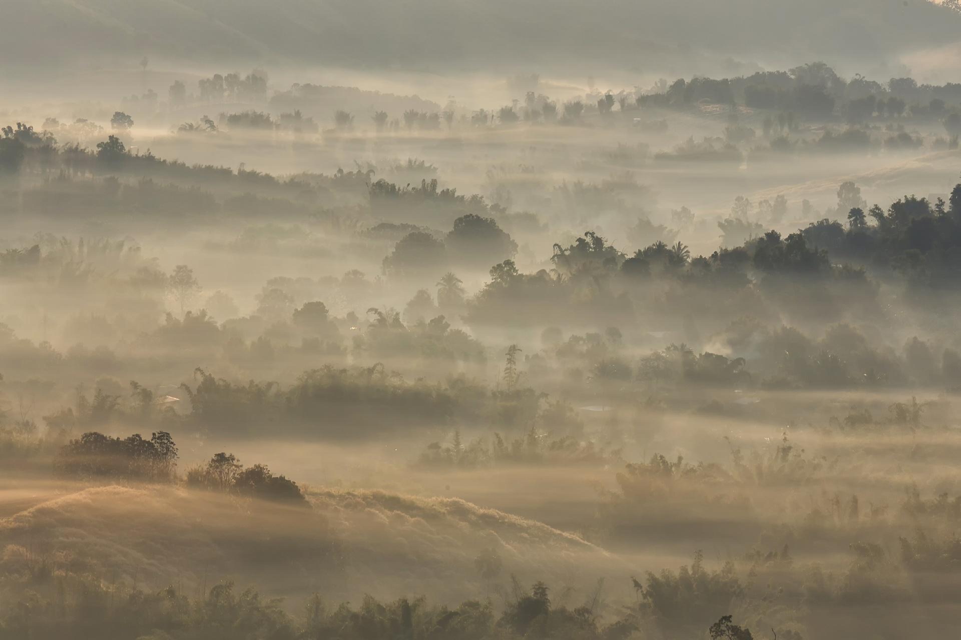 日の出の風景 山と朝霧 タイの風景