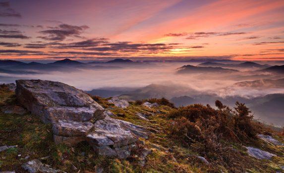 バスク州ビスカヤ 日の出の風景 スペインの風景