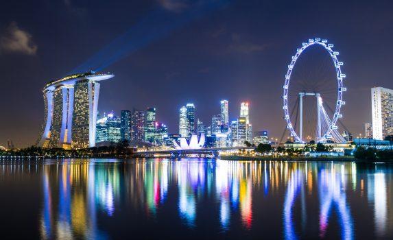 夜のマリーナベイ シンガポールの風景