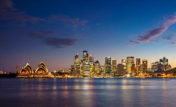 夕暮れのハーバーブリッジとシドニーの風景 オーストラリアの風景