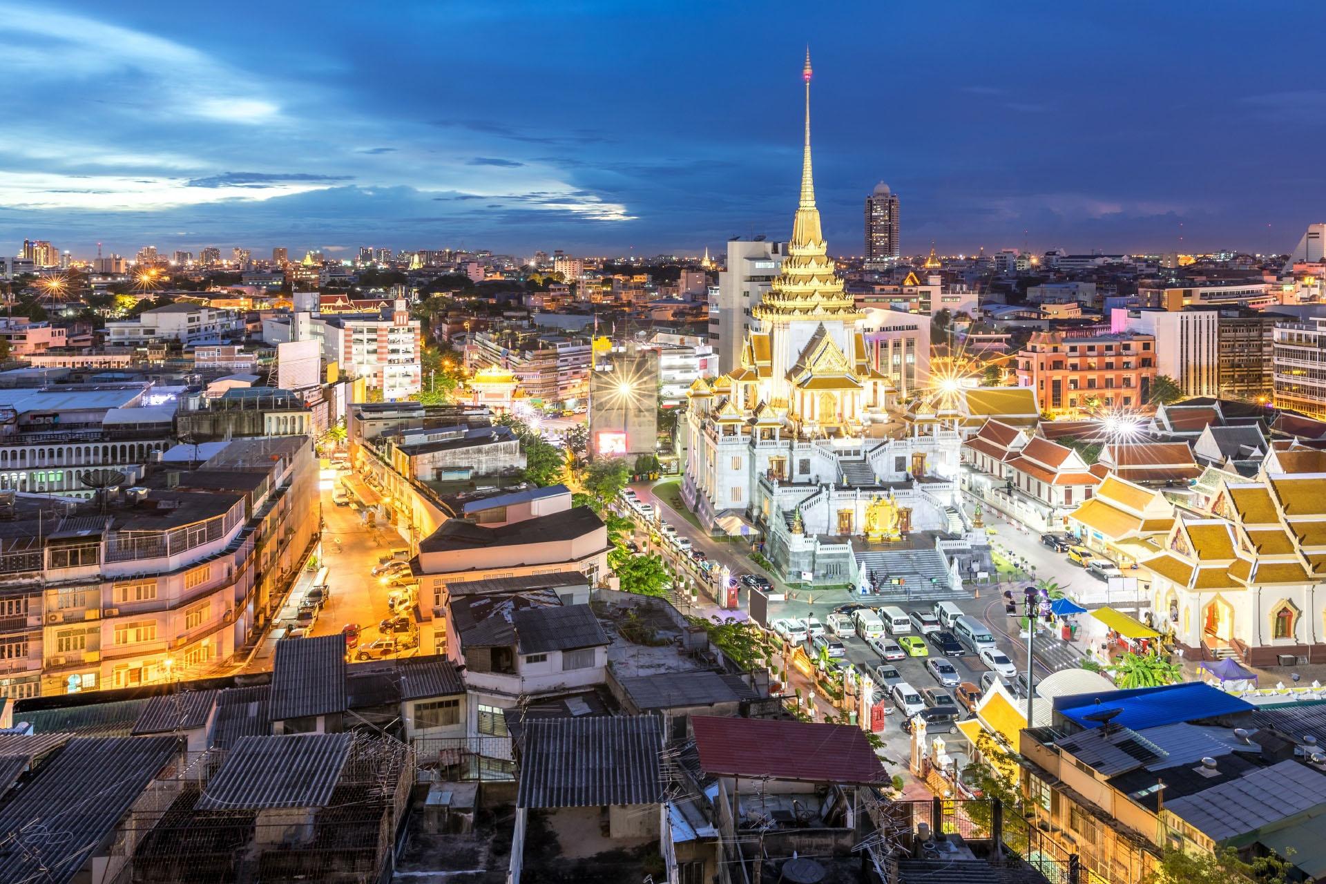ワット・トライミットとチャイナタウンの風景 バンコクの風景 タイの風景