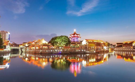 中国江蘇省蘇州市の夜の風景 中国の風景