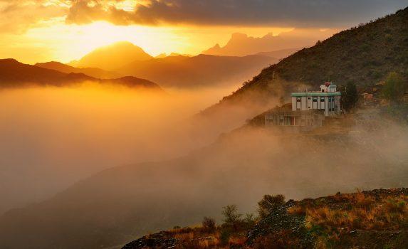 日の出の風景 サウジアラビアの風景