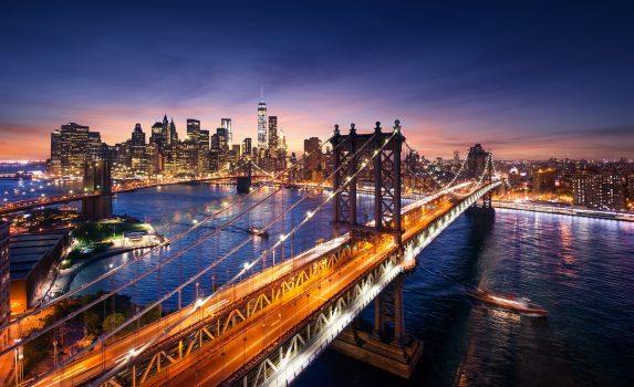 夕暮れのニューヨークの風景 アメリカの風景