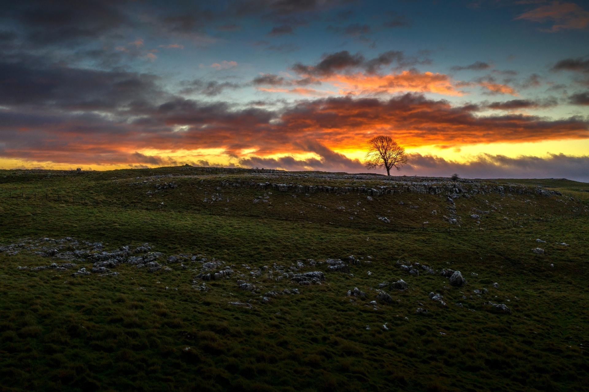 日の出のヨークシャー・デイルズの風景 イギリスの風景
