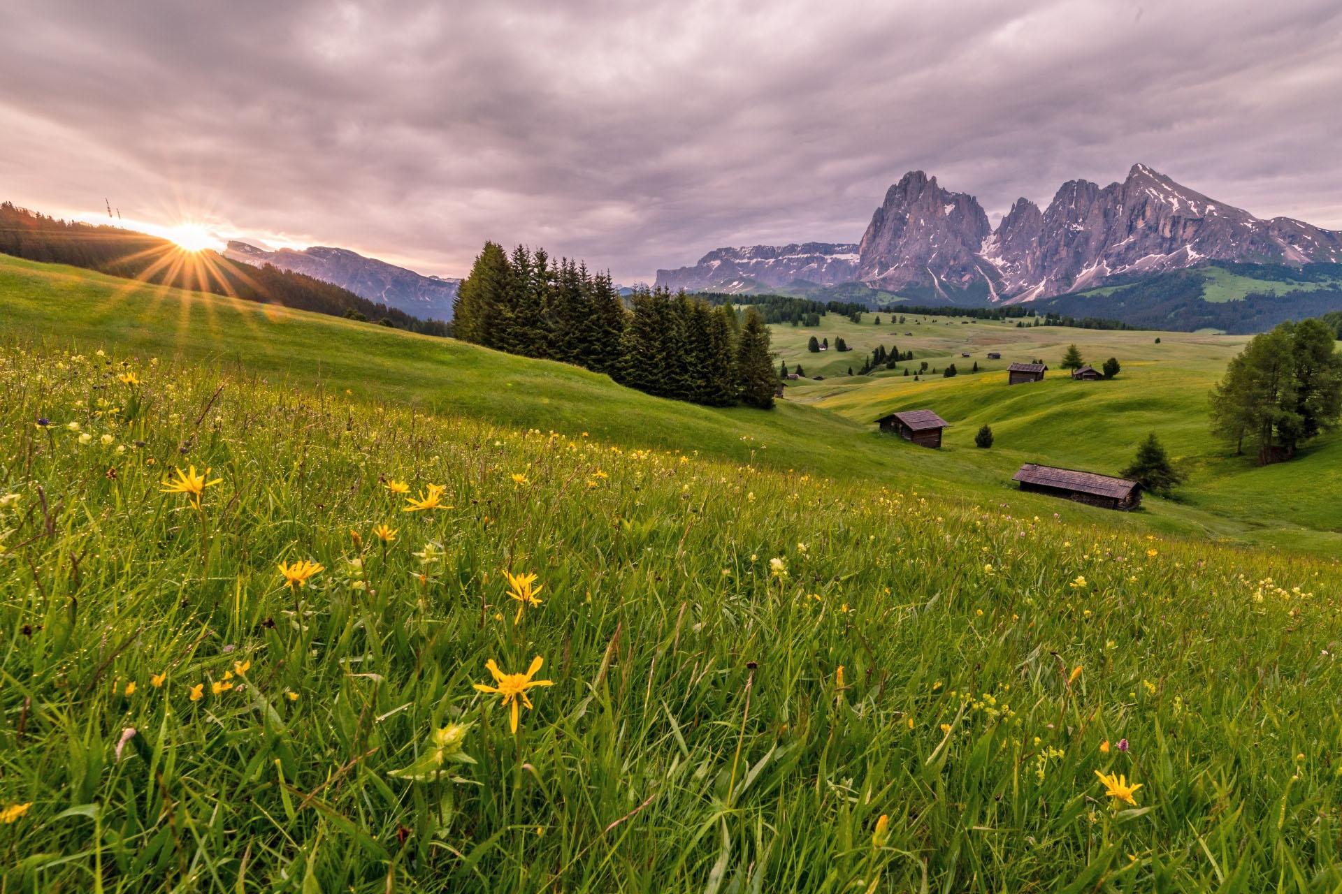 アルペ・ディ・シウージの朝 イタリアの風景