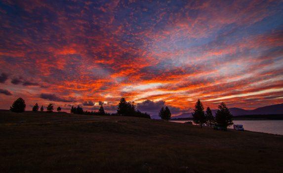 プカキ湖の夕焼け ニュージーランドの風景
