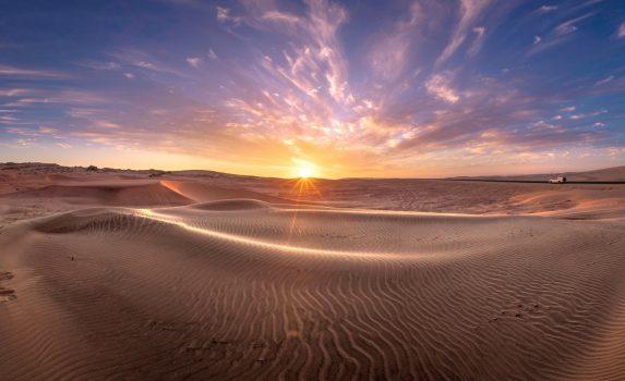 ナミブ砂漠の夕日 ナミビアの風景