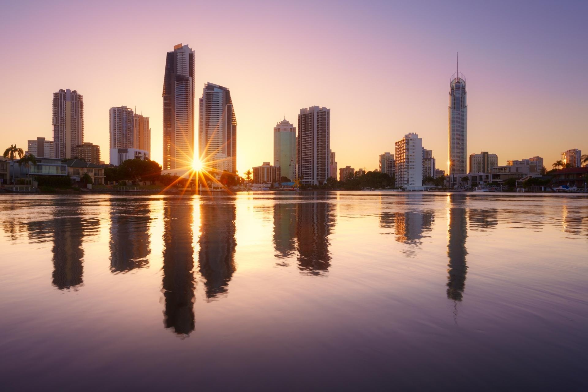 ブリスベンの日の出の風景 オーストラリアの風景
